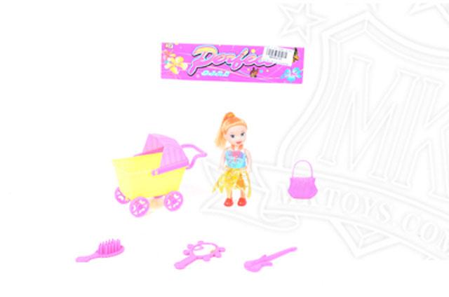 Игрушка детская:Кукла-мини с коляской и набором   АстроТойз
